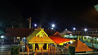 Sabarimala Temple dedicated to Ayyappan in the Pathanamthitta District of Kerala, India