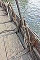 Saga Oseberg Details shroud-pins or vantnales to secure the shrouds to the hull, gunwale, oarholes, knees, deck etc Viking ship replica 2012 Tønsberg harbour Norway 2019-08-16 04305.jpg