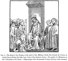 King Clovis dictates the Salic Law (Code of the Barbaric Laws) surrounded by his court of armed military chiefs.