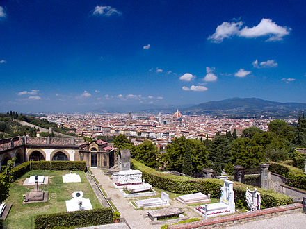 Porte Sante cemetery, burial place of notable figures of Florentine history. SanMiniatoAlMonte-Cimetiere.jpg