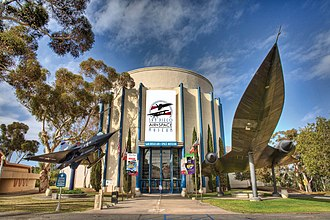 San Diego Air & Space Museum - Museum entrance in 2009, with a Convair YF2Y-1 Seadart on the left and a Lockheed A-12 Oxcart on the right.
