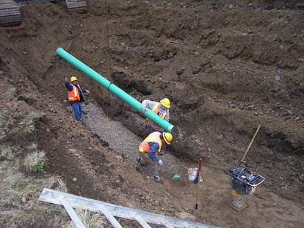PVC sanitary sewer installation. Sanitary sewers are sized to carry the amount of sewage generated by the collection area. Sanitary sewers are much smaller than combined sewers designed to also carry surface runoff. Sansewer.jpg