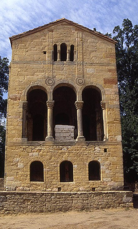 Church of Santa Maria del Naranco. Eastern facade. This is probably the finest example of Asturian architecture. Santa Maria del Naranco.jpg