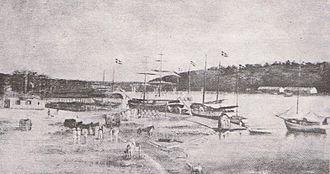 Armed Forces of the Dominican Republic - Brigantine Schooners in Santo Domingo circa 1850.