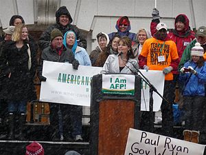 Americans for Prosperity - Sarah Palin at the Americans for Prosperity-run Wisconsin 2011 Tax Day Tea Party Rally on April 16, 2011.
