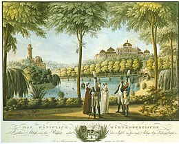 An engraving of the East Garden dated to 1810. It shows the palace to the right, the Emichsburg to the right, and a group of three women and two men, in military uniform, conversing in the palace garden.