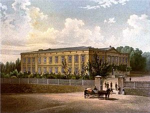 Karl Godulla - Godulla's palace at Schomberg about 1860. Painting by Alexander Duncker