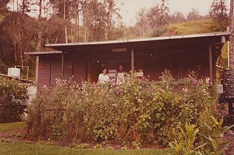 Enga Province - Staff house with staff at a rural secondary school in Ambum Valley, north of Wabag