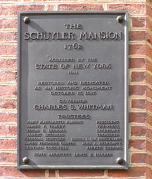 Schuyler Mansion - Dedication Plaque (1917)
