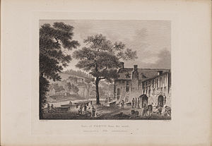 Perth, Scotland - Engraving of a view of Perth by James Fittler in Scotia Depicta, published 1804