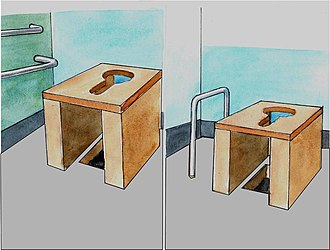 Accessible toilet - A moveable wood seat with support bars, that can be placed over the drop hole of a pit latrine. Tanzania.