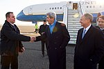 Secretary Kerry Shakes Hands With a U.S. Embassy Berlin Employee Upon Arrival in Germany (31437314225).jpg
