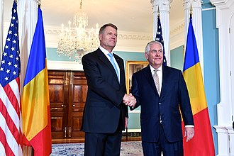 Klaus Iohannis - U.S. Secretary of State Rex Tillerson and Klaus Iohannis before their bilateral meeting at the U.S. Department of State in Washington, D.C., on 9 June 2017