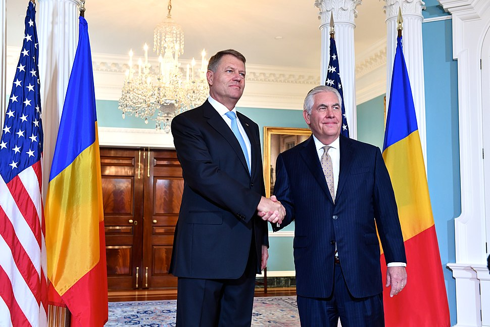 Secretary Tillerson and Romanian President Iohannis Pose for a Photo Before Their Meeting in Washington (34814507170)