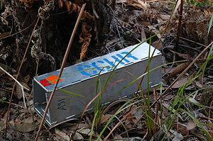 English: Self folding aluminium trap used to c...