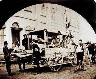 Serbian–Ottoman War (1876–1878) - Serbian ambulance in 1876.