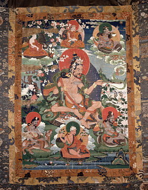 Mahamudra - A scroll painting of Saraha, surrounded by other Mahāsiddhas, probably 18th century and now in the British Museum