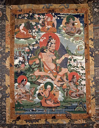 Sahaja - A Tibetan thangka or scroll painting of Saraha surrounded by other mahasiddhas; probably 18th century and now in the British Museum