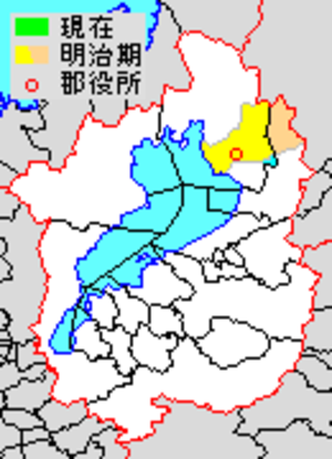 Higashiazai District, Shiga - Map of Higashiazai District with Meiji period (1890) area in yellow.