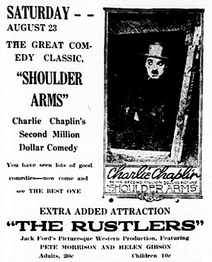 Rustlers (1919 film) - Rustlers advertised as an added attraction for the film Shoulder Arms