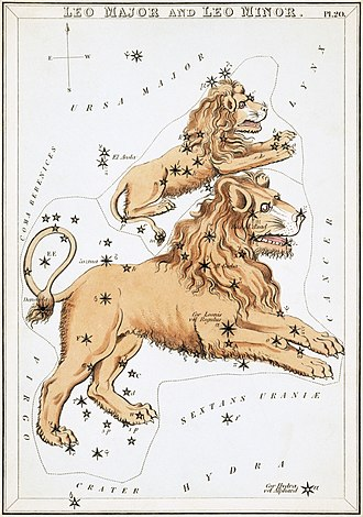 Leo Minor - Image: Sidney Hall Urania's Mirror Leo Major and Leo Minor