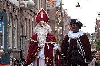 Portrait of Sinterklaas and Zwarte Piet.