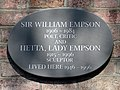 Sir William Empson 1906-1984 Poet Critic and Hetta, Lady Empson 1915-1996 Scupltor lived here 1946-1996.jpg