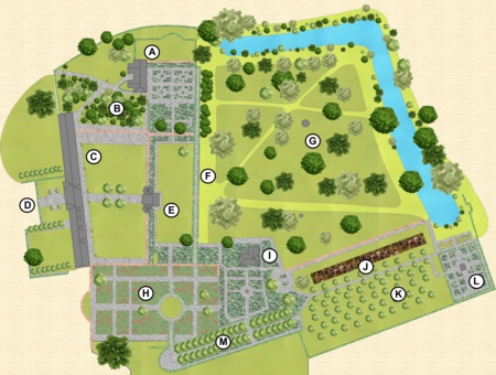 labelled map of the gardens