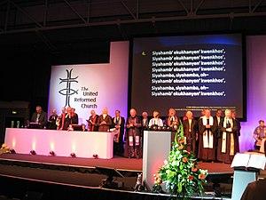 """Siyahamba - Singing """"Siyahamba"""" with the former moderators at the United Reformed Church General Assembly 2007, Manchester"""