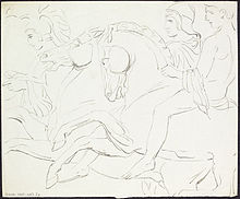 Pencil sketch of warriors on horseback