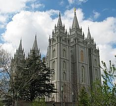 The LDS Church's Salt Lake Temple (built in 1893) in Salt Lake City, Utah.