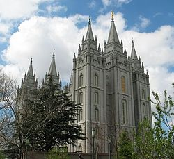 The LDS Salt Lake Temple, the primary attraction in the city's Temple Square.