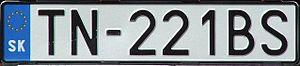 Vehicle registration plates of Slovakia - An example of Slovak car registration plate after entry of Slovakia to the EU without coats of arms - TN stands for Trenčín District.
