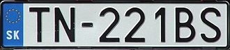 Vehicle registration plates of Slovakia - An example of Slovak car registration plate after entry of Slovakia to the EU without coats of arms - TN stands for Trenčín District