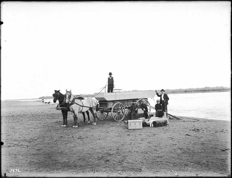 File:Small outboard before being launched at Needles in the Colorado River, ca.1900 (CHS-3436).jpg