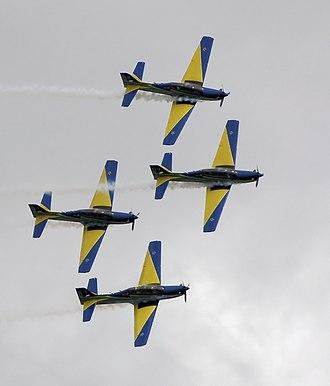 Smoke Squadron - Image: Smoke squadron aerobatics in tucano arp