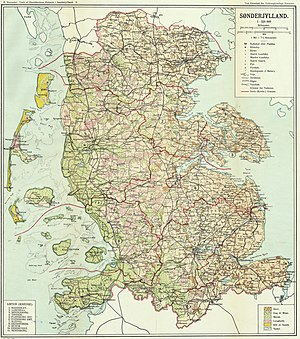Duchy of Schleswig - Danish Map of Southern Jutland (1918)