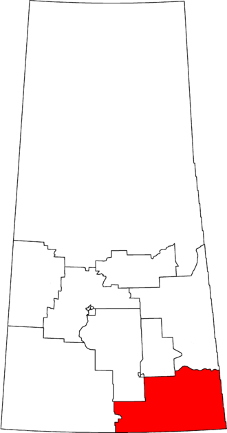 Souris—Moose Mountain - Souris—Moose Mountain in relation to other Saskatchewan federal electoral districts as of the 2013 Representation Order.
