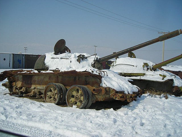 Soviet_Tanks_Afghanistan.jpg: Russian Tanks covered with snow seen in Kabul are the