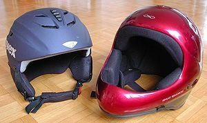 Ski helmet - A typical ski helmet (left) and paragliding helmet