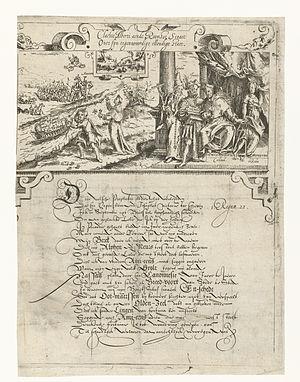 Spotprent op de verliezen van de Spanjaarden tijdens de veldtocht van Maurits in 1597