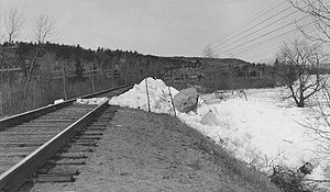 Grand Bay–Westfield - Ice break-up on tracks at Westfield, 1936