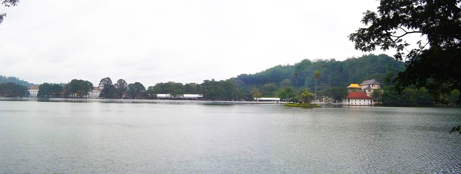 Panorama of Kandy Lake and Sri Dalada Maligawa