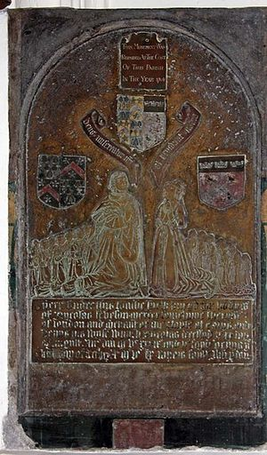 Thomas Offley - Brass (1539) to Nicholas Leveson the elder, Sheriff of London 1534–35, and wife Dionysia (died 1560): St Andrew Undershaft.