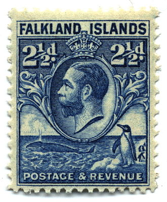 Both collectors of whales and penguins on stamps would want this 1929 issue from the Falkland Islands. Stamp Falkland Islands 1929 2.5p.jpg
