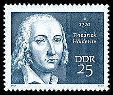 25-Pf-Sondermarke der DDR-Post (1970) zum 200. Geburtstag Friedrich Hölderlins aus der Serie Berühmte Persönlichkeiten IV (Quelle: Wikimedia)