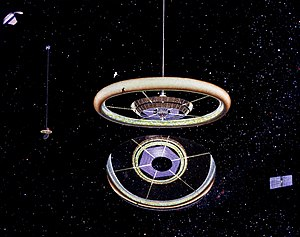 Rotating wheel space station