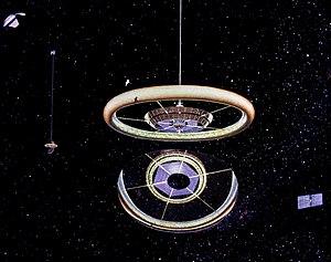 Rotating wheel space station - Image: Stanford torus external view by Don Davis AC76 0525