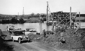Logan River - Bridge construction on the Logan River, 1930