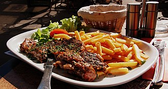 French fries - Steak frites in Fontainebleau, France